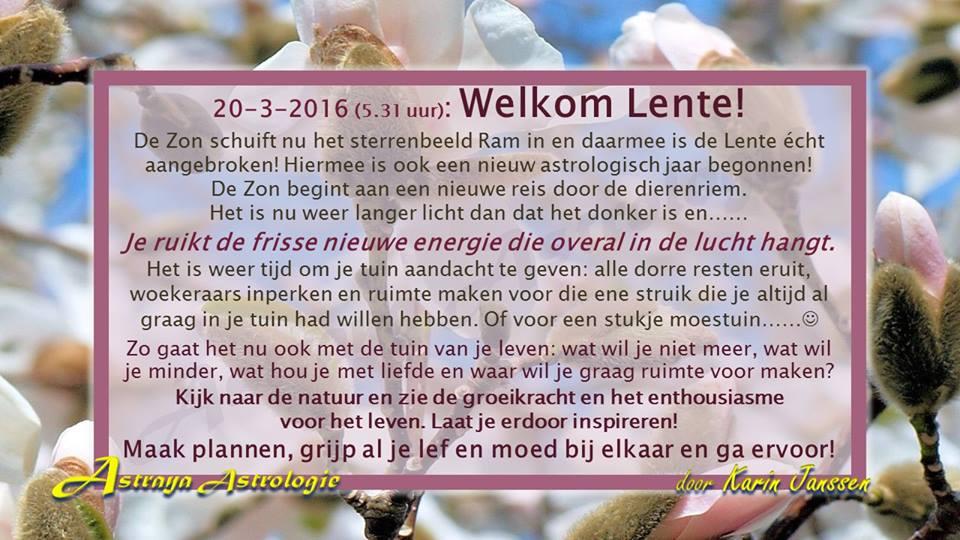 Welkom Lente! Op 20 maart 2016