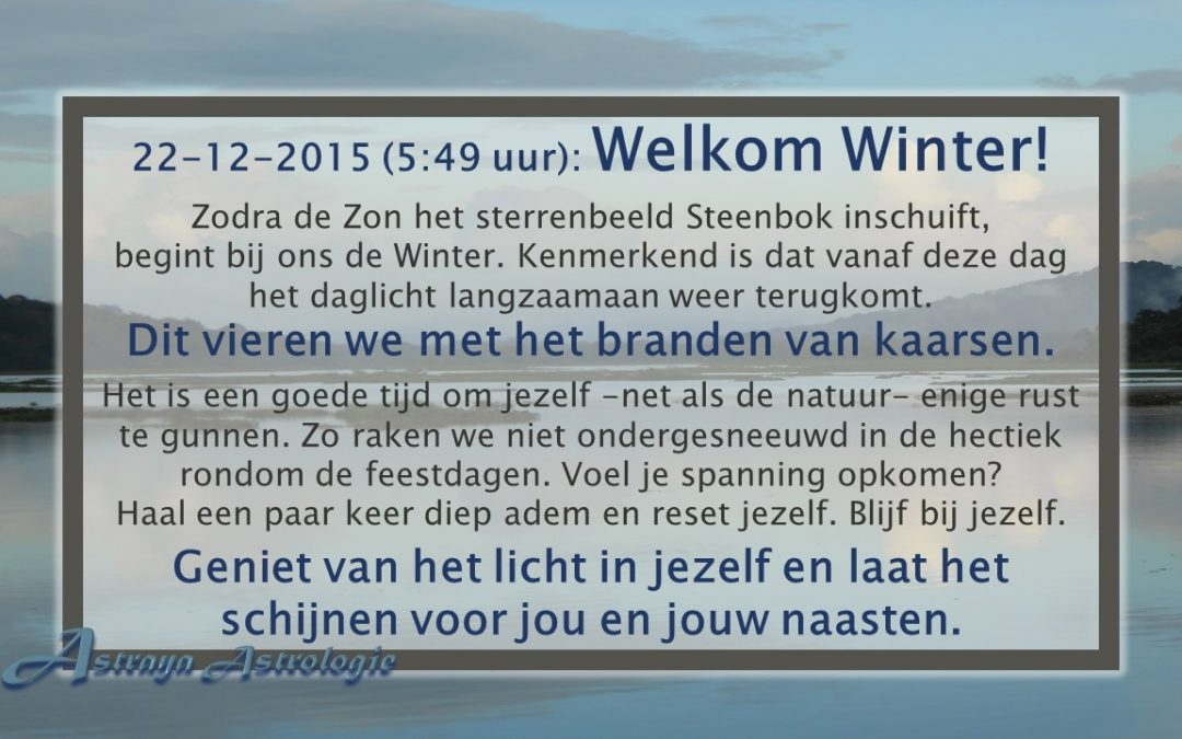 Welkom Winter! Op 22 December 2015