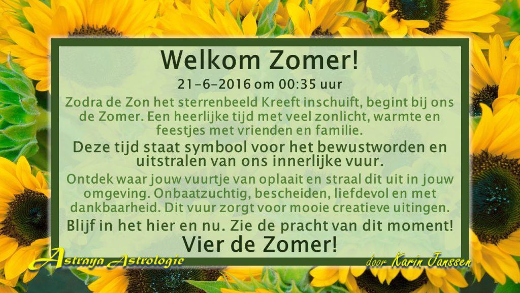 Welkom Zomer! Op 21 juni 2016