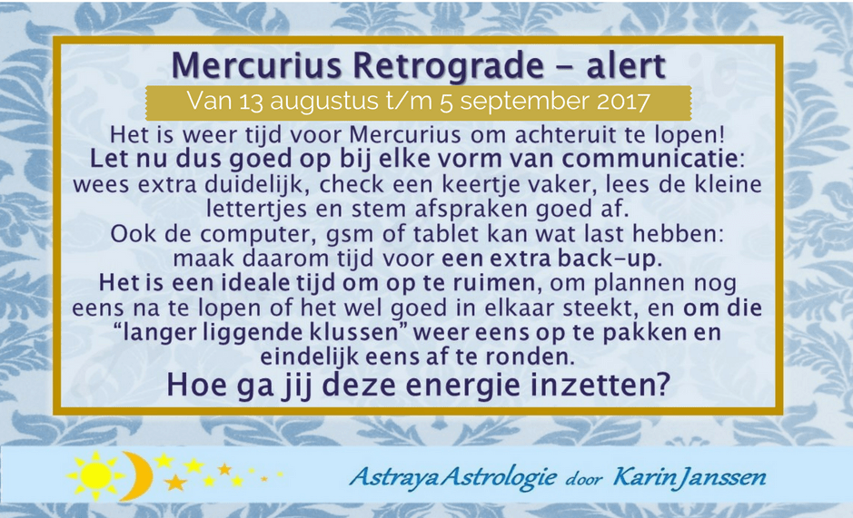 Mercurius Retrograde – 13 augustus t/m 5 september 2017