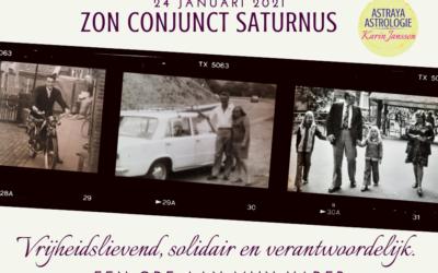 Zon conjunct Saturnus op 24 januari 2021